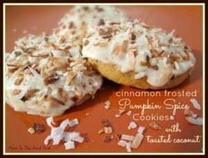 Cinnamon Frosted Pumpkin Spice Cookies With Toasted Coconut