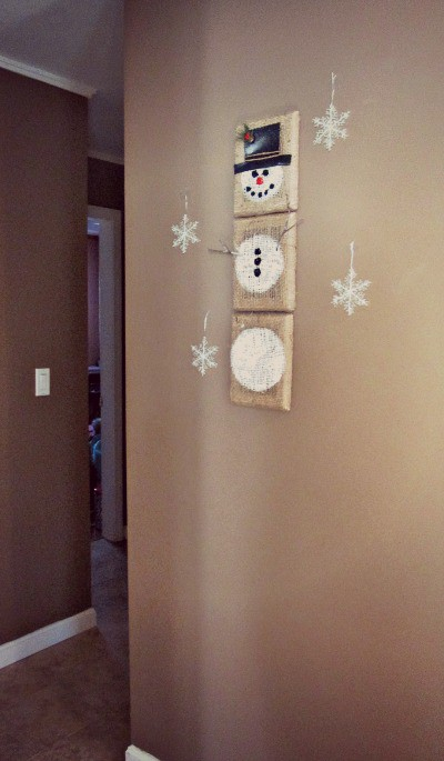 Easy 3D Burlap Snowman Wall Hanging Craft