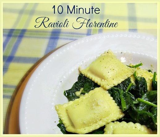 Creamy 10 Minute Cheese Ravioli Florentine