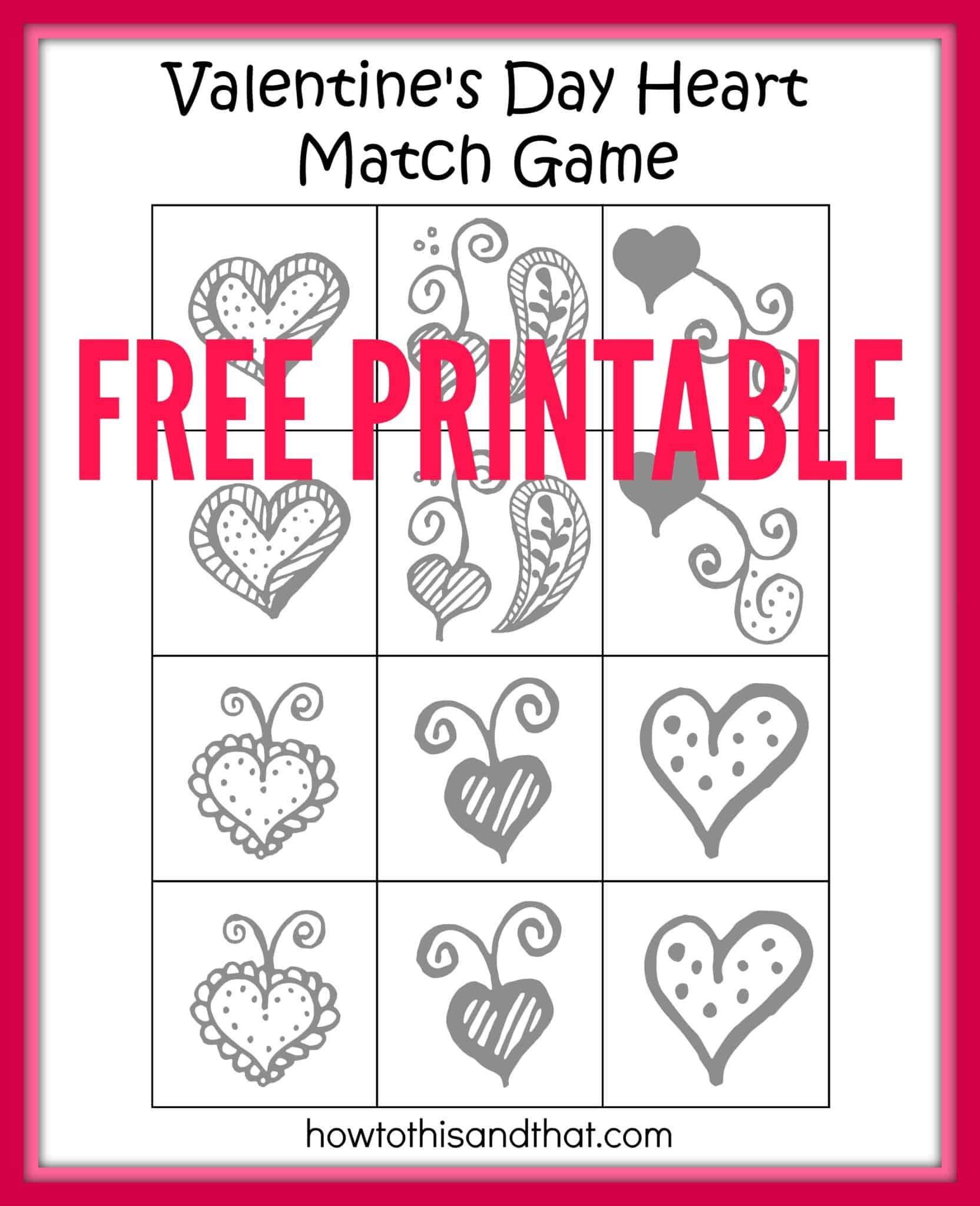 Free Printable Valentine's Day Heart Matching Game 1