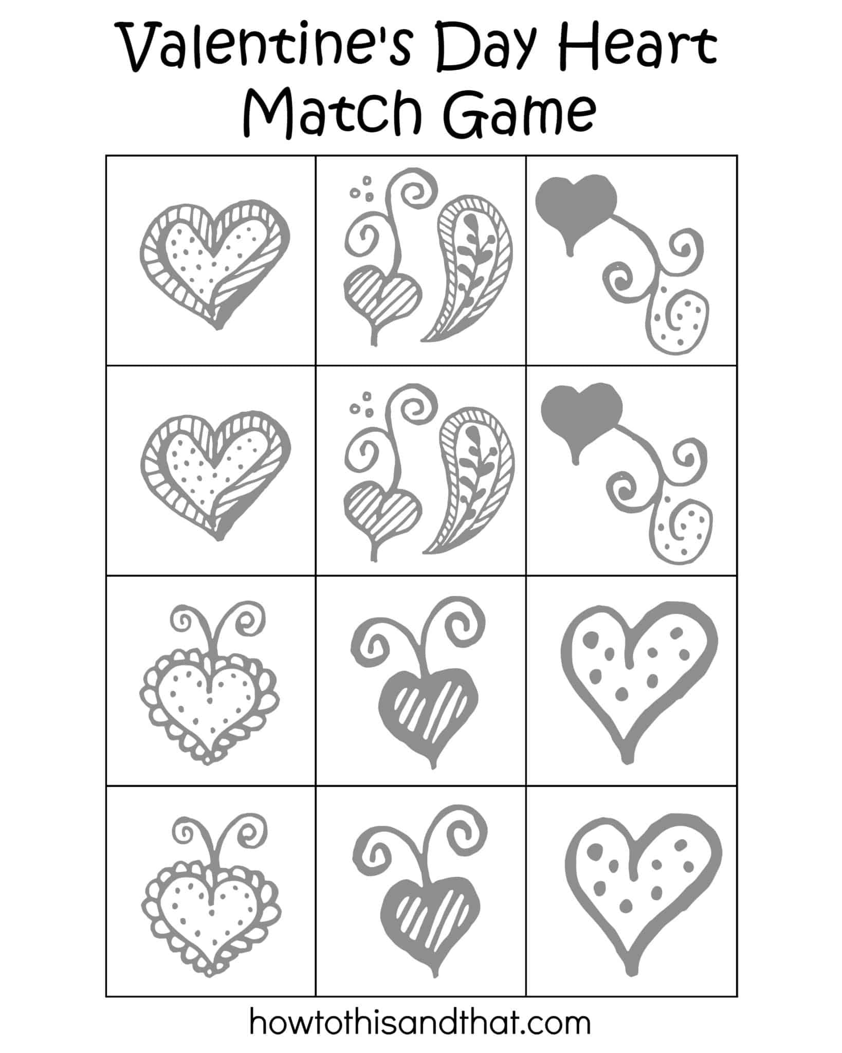 free printable heart match game
