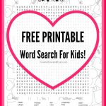 Free Valentine's Day Kid's Word Search Printable