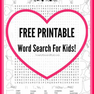 Free Valentine's Day Kid's Word Search Printable 1