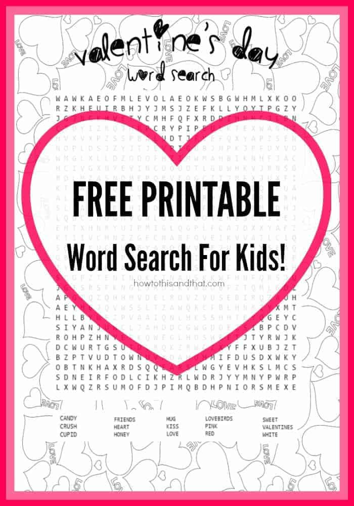 photo about Free Printable Word Search for Kids titled Absolutely free Valentines Working day Youngsters Phrase Glimpse Printable