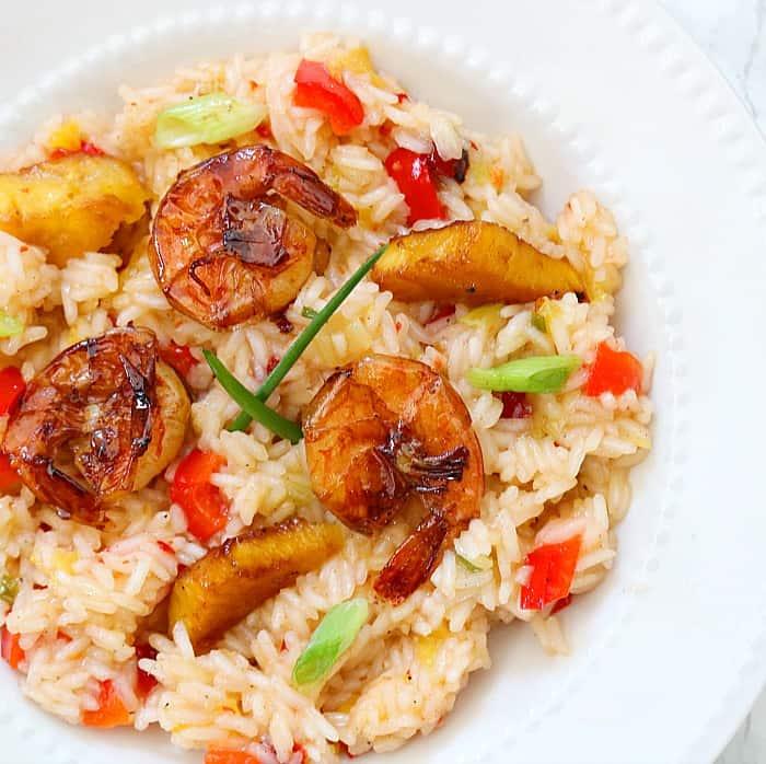 pineapple grilled shrimp over jasmine rice