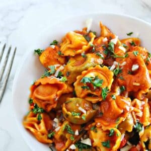 Chicken & Cheese Tortellini In Fire Roasted Red Pepper Sauce   1