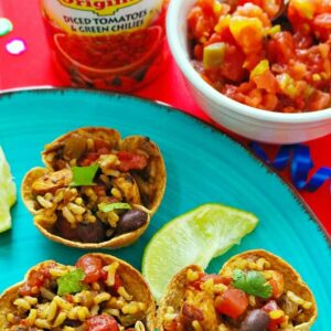 Cinco De Mayo Party Appetizer- Chili Lime Chicken & Rice Cups
