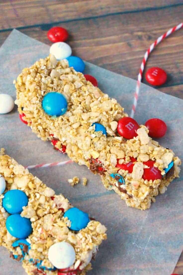 Homemade Granola Bars 4th of July Style!