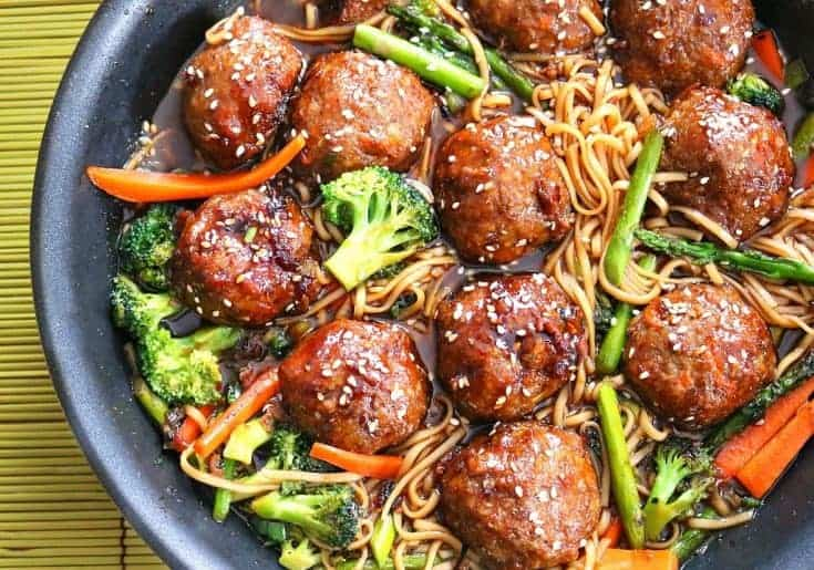 One Pot Sesame Chicken Meatballs & Lo Mein