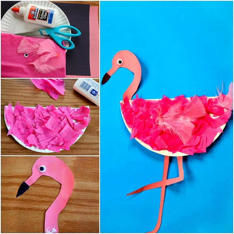 Easy Paper Plate Flamingo Craft