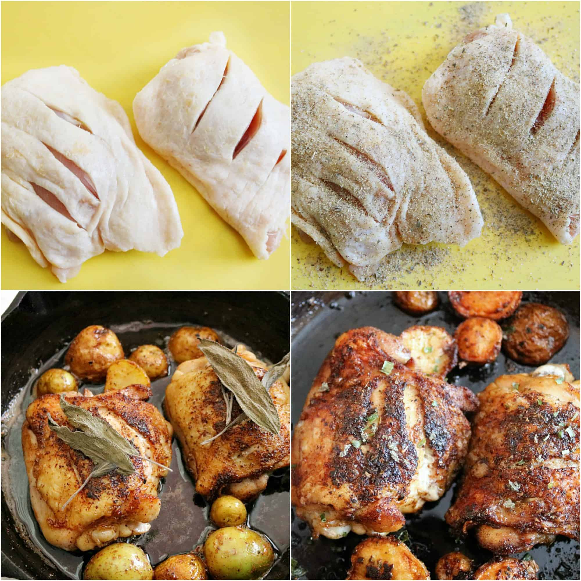 Scored Potatoes Recipe: Brown Butter Sage Skillet Chicken & Baby Potatoes