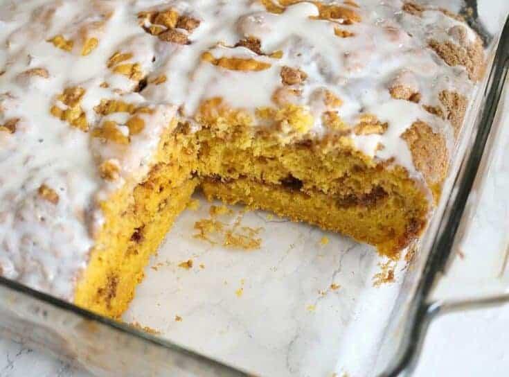 Pumpkin Swirl Layered Coffee Cake & Cream Cheese Icing