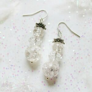DIY beaded snowman earrings