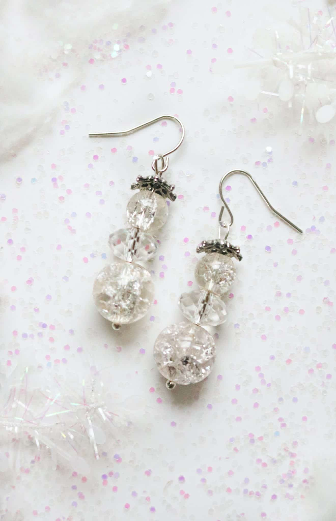 diy beaded snowman earrings