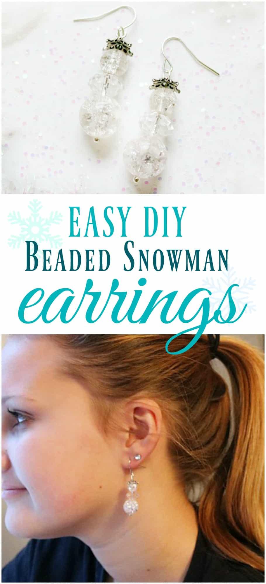 easy diy beaded snowman earrings