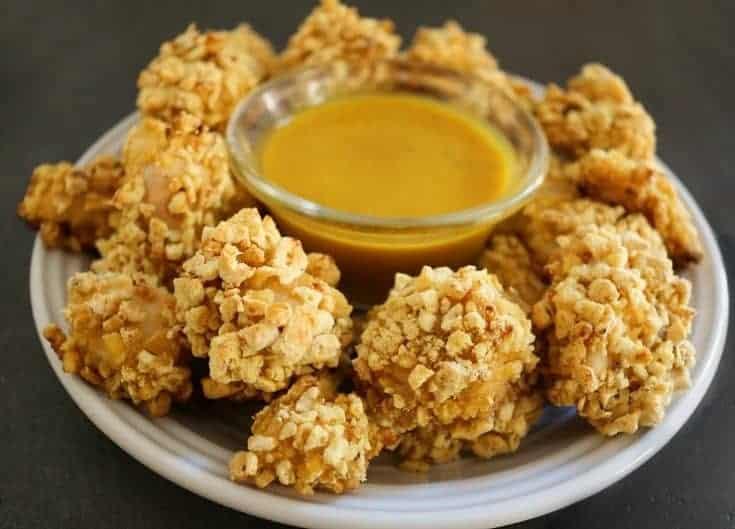 Honey Mustard Popcorn Chicken- Oven Baked Crispy