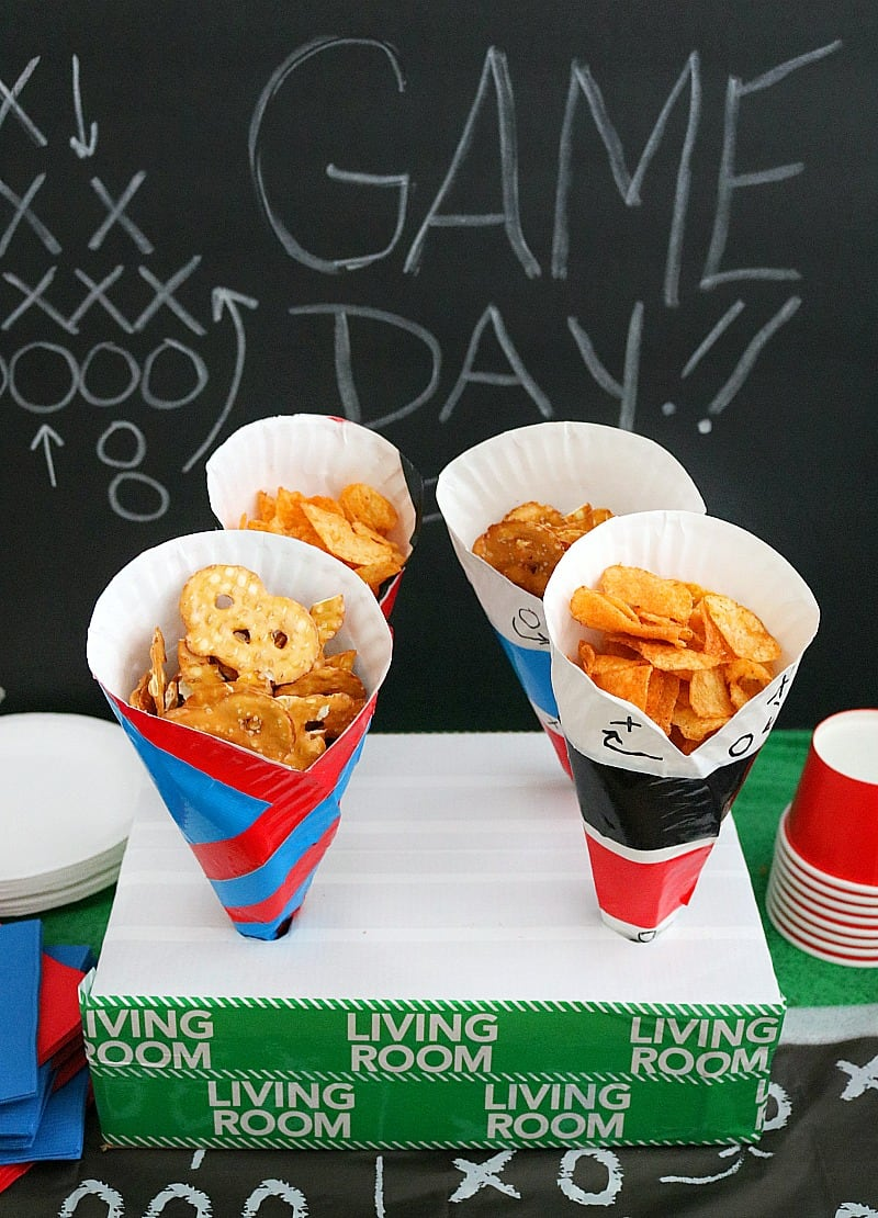 Diy Paper Plate Snack Cups For Game Day Customize With Team Colors