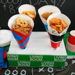 diy paper plate game day snack cups