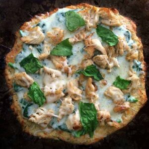 Keto Pizza- Grilled Chicken & Spinach