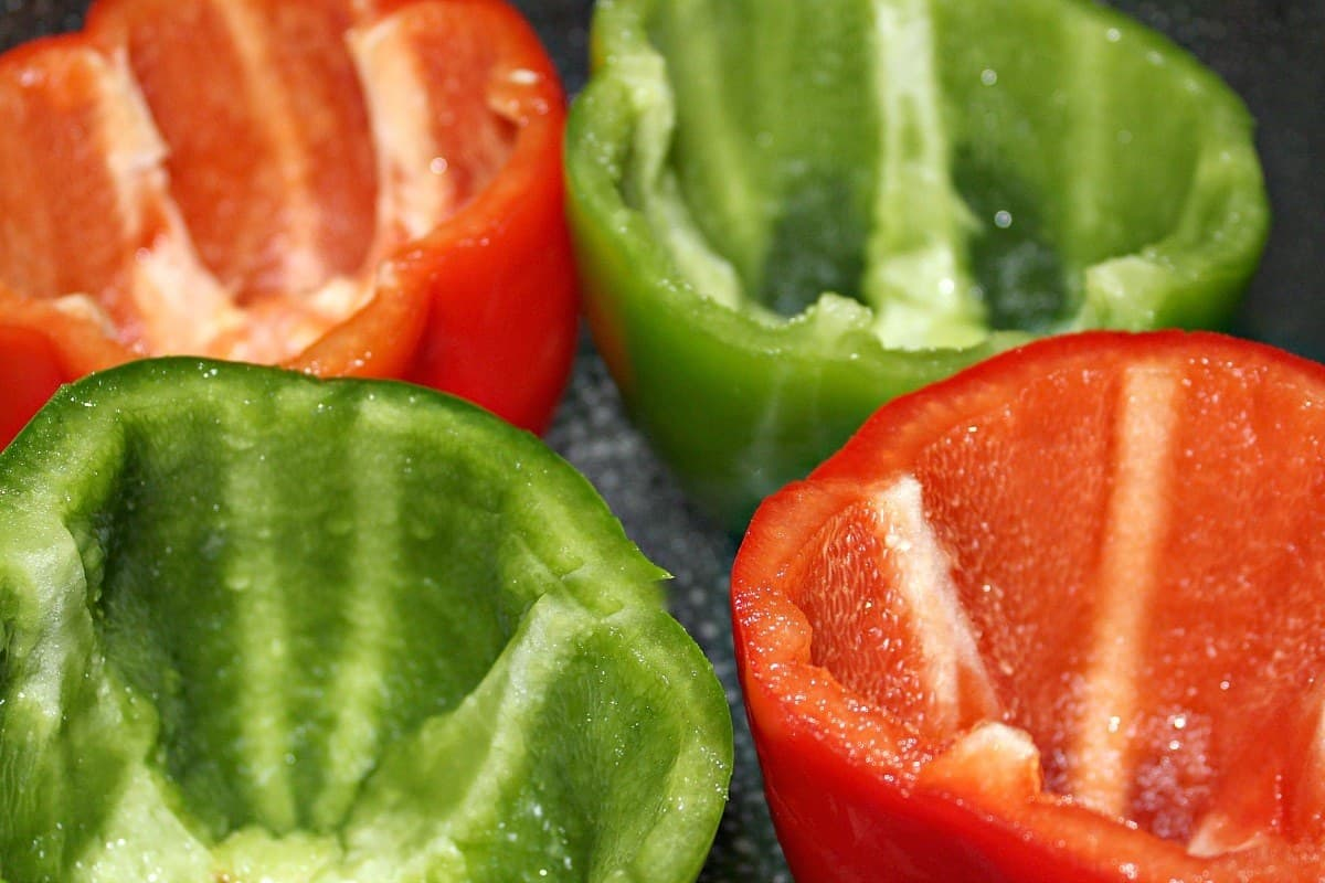 peppers cut up and cleaned