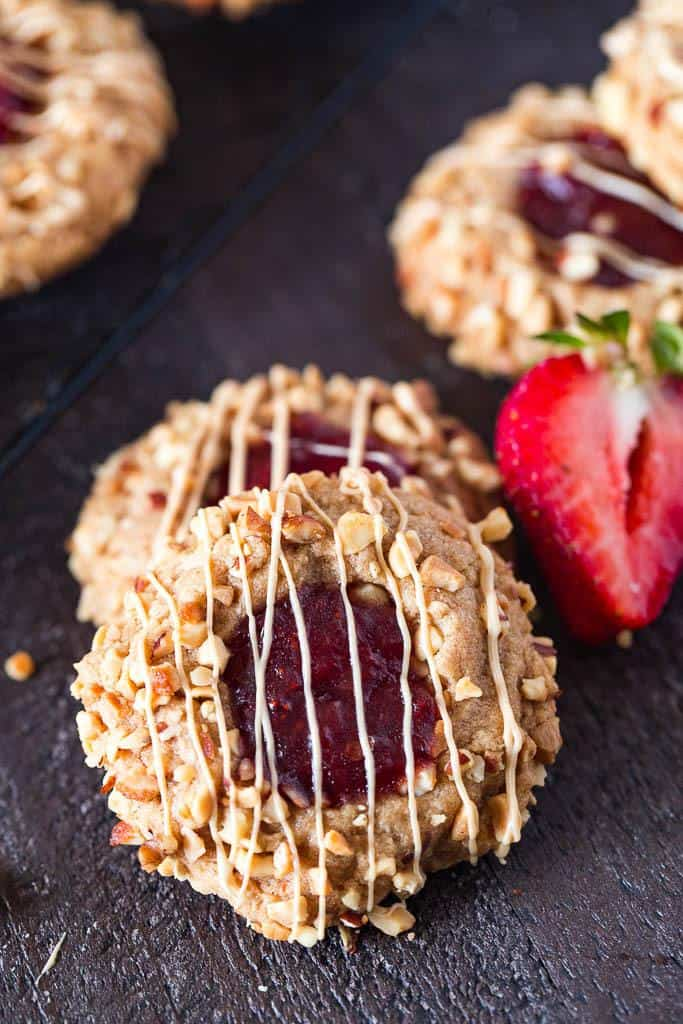 Keto Peanut Butter & Jelly Thumbprint Cookies SF, GF & LC