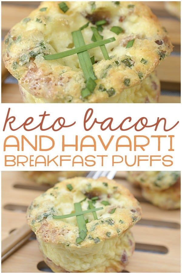 These keto bacon and havarti breakfast puffs are one of the BEST keto breakfast ideas! If you're looking for some delicious keto breakfast muffins, you are going to LOVE these bacon egg cheese cups! They're perfect for weekday mornings and are so full of flavor - giving you the perfect start to the day. Follow the easy step by step recipe below to make your own low carb bacon egg muffins!