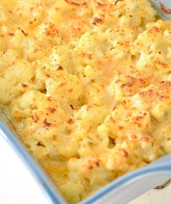 cauliflower au gratin in a dish