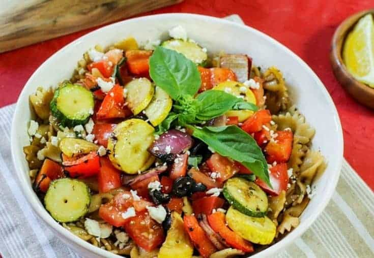 Mediterranean Pasta Bowl with Grilled Vegetable Kabobs